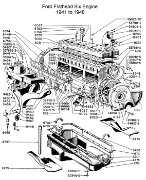 Ford Flathead Six Parts Drawings For the Six Cylinder
