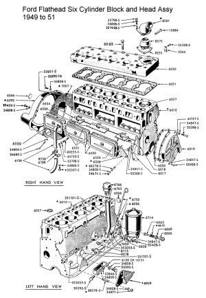 Ford Flathead Six Parts Drawings For the Six Cylinder