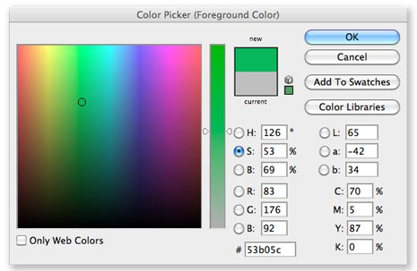 Photoshop color picker in saturation mode