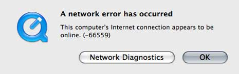 Network error dialog box