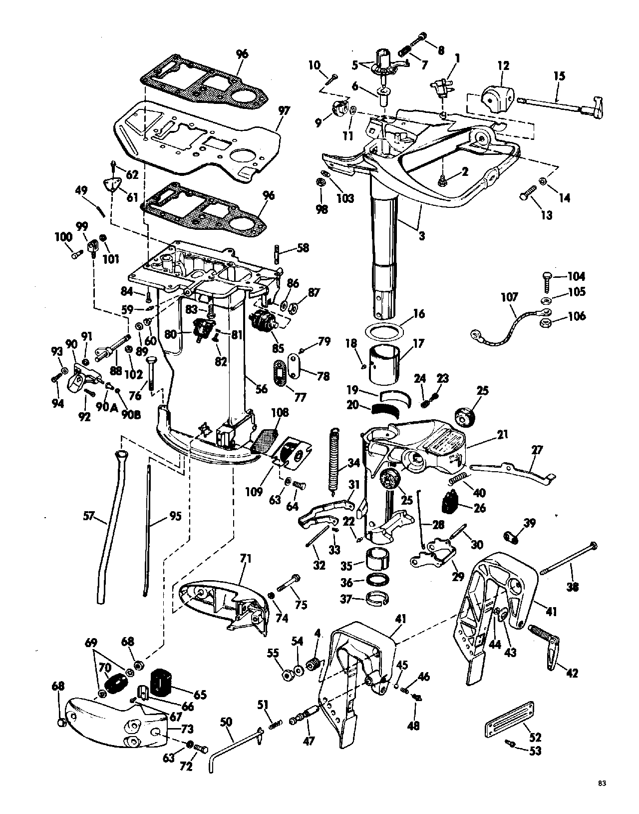 Pictorial diagram of icon engine rigging array brp evinrude en 1968 33 33852r 1968 lower unit group rh vansoutboardparts