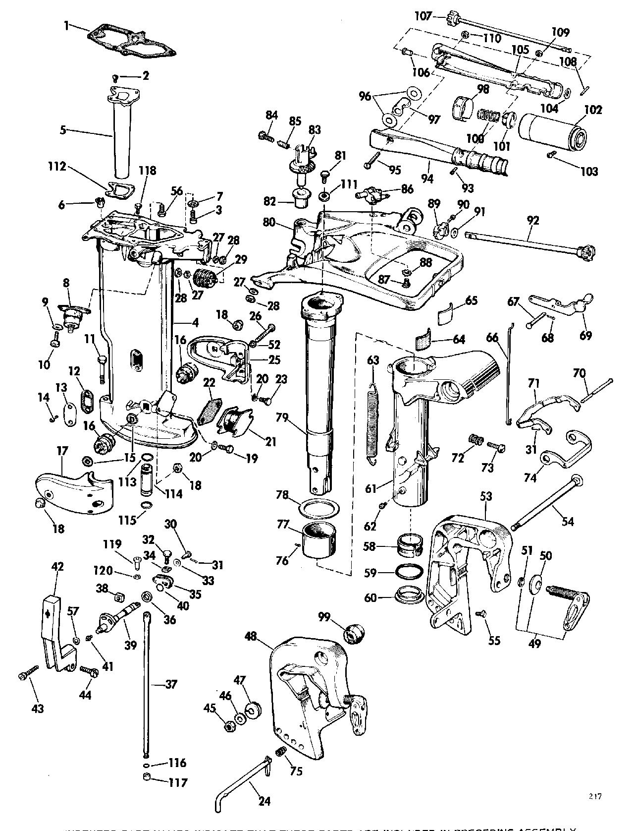 Array brp evinrude en 1969 18 18902b 1969 lower unit group rh vansoutboardparts