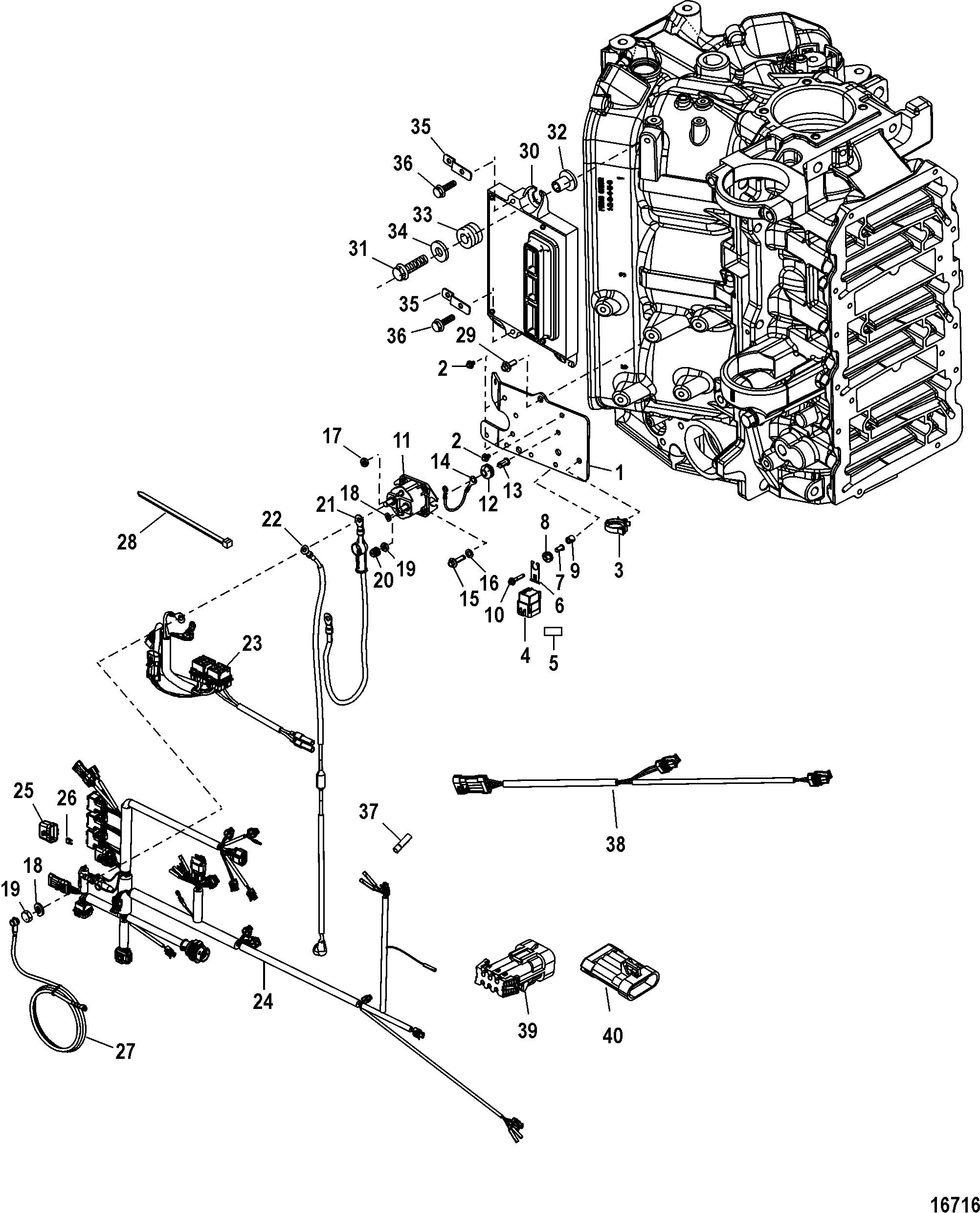 Mercury Mariner V 200 Efi 2 5l 1b Amp Up Electrical Plate Assembly