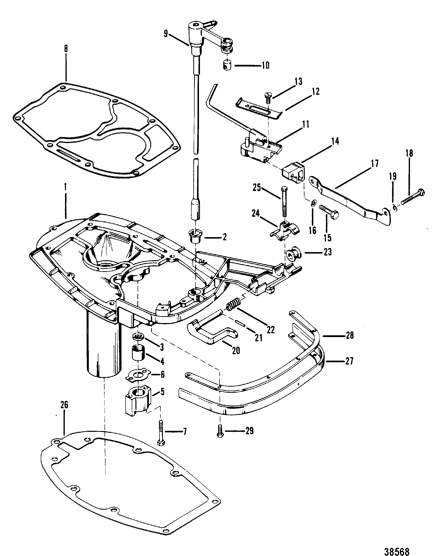 Mercury Exhaust Plate And Shift Linkage