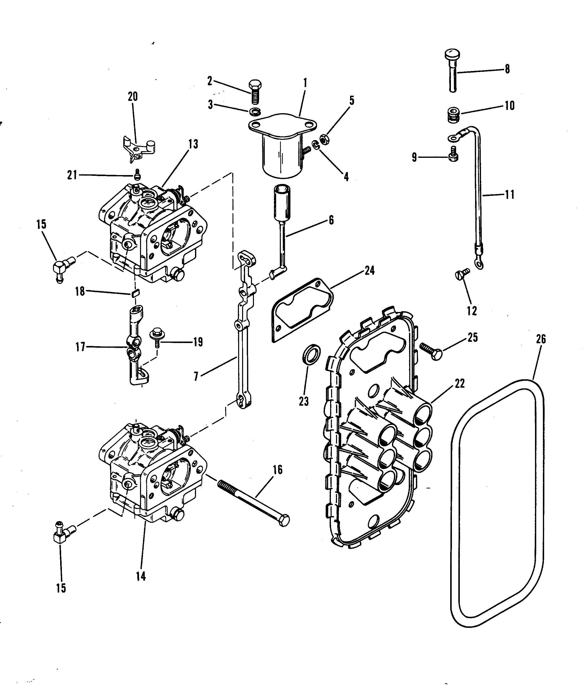 Mercury Mariner 75 4 Cyl And Up Carburetor Linkage
