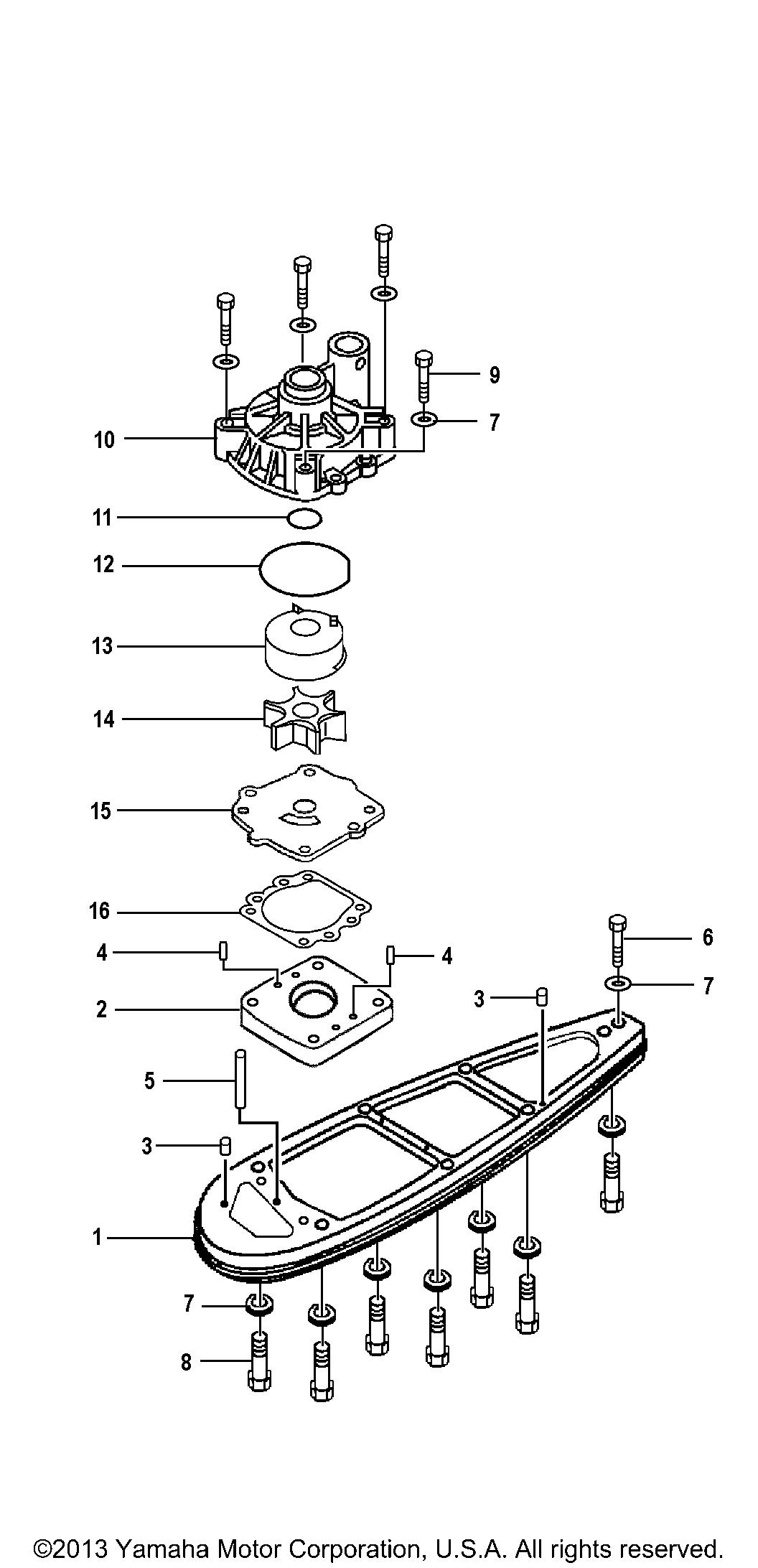 Yamaha Outboard 115 Hp F115tjrb P Water Pump Adapter F115