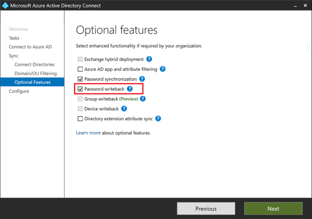 Enable Azure Active Directory password writeback | Microsoft Docs