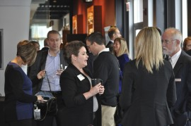 Friends of Vantage enjoy breakfast and conversation at World of Whirlpool in downtown Chicago.
