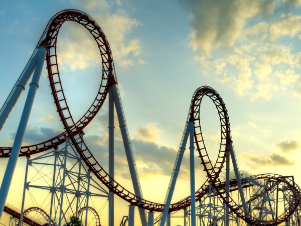 A roller coaster with two loop-de-loops against a late-afternoon sky