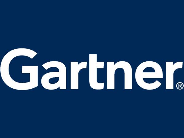 Gartner logo - white text on navy background