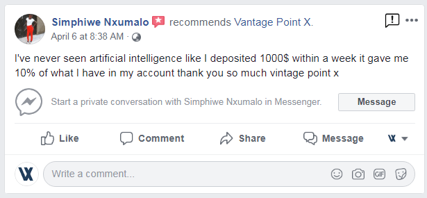 Another Satisfied trader – Vantage point X