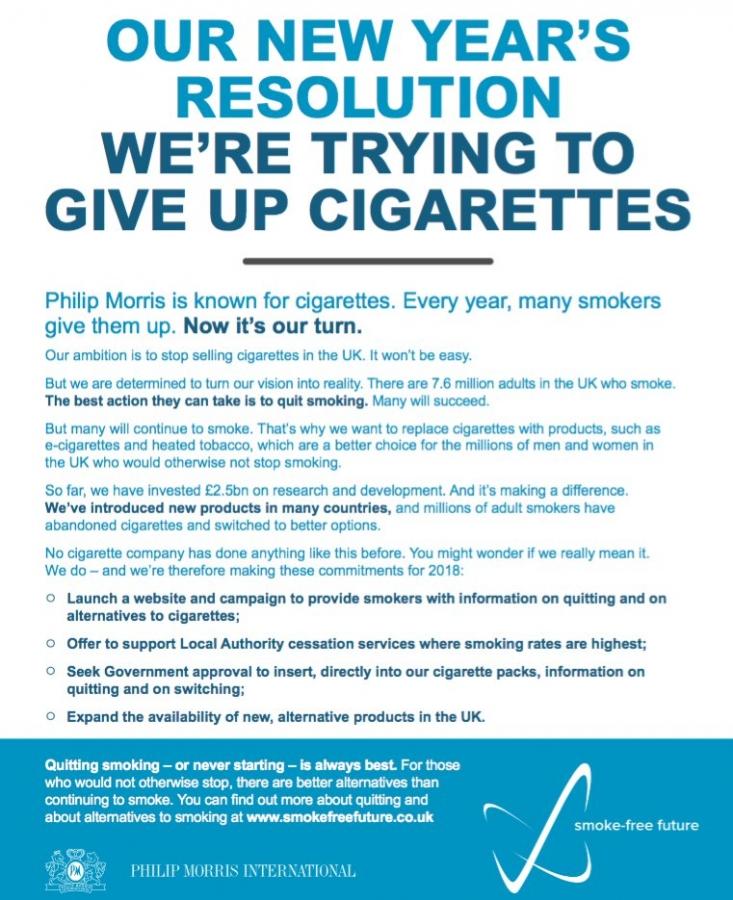 Dejar el cigarro es el propósito de Año Nuevo de Philip Morris.