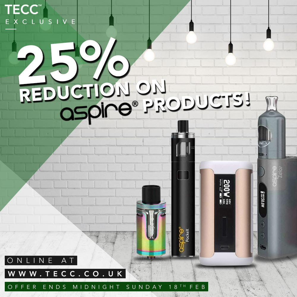 25% Reductions On Aspire Products! – From £2.24 At TECC!