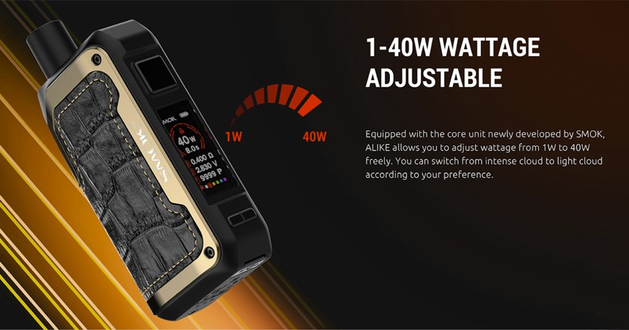 The 1600mAh Alike pod kit features an adjustable wattage output up to a maximum 40W.