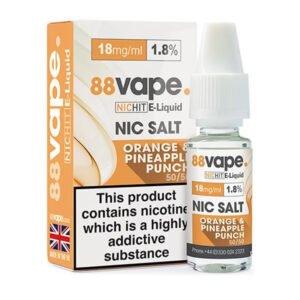 88vape Orange Pineapple Punch Nicotine Salt Eliquid Bottle With Box