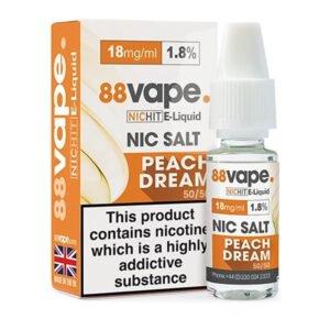 88vape Peach Dream Nicotine Salt Eliquid Bottle With Box