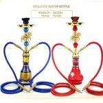 XQ Ensemble de Chicha narguilé, Un Ensemble Complet de narguilés Arabes, Barre de Verre Shisha KTV pâte de fumée de Pipe de de Taille Moyenne pour Bar KTV conduites d'eau(Color:Tube Double Bleu QC)