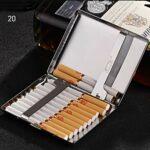 JIANGCJ Mode Boîtier à Cigarettes Ultra-Mince Boîte d'acier Inoxydable Homme Carte de crédit Porte-Cartes de Visite Peut contenir 20 Cigarettes, Argent