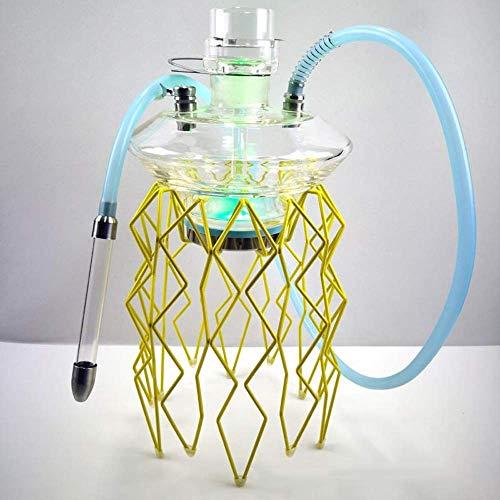 NC Ensemble de narguilé avec 1 Accessoires de Tuyau Lumière LED Narguilé en Acier Inoxydable Facile à démonter pour Mieux Fumer Le narguilé LKWK