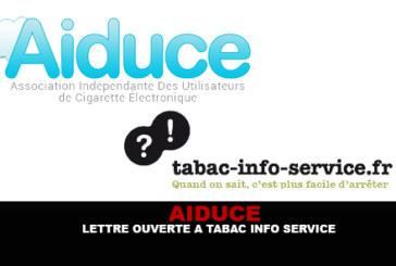 AIDUCE : Lettre ouverte à Tabac-Info-Service