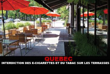 QUEBEC : Interdiction du tabac et des e-cigarettes sur les terrasses.