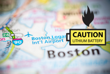 USA: An e-cigarette battery degassing at Boston Airport.