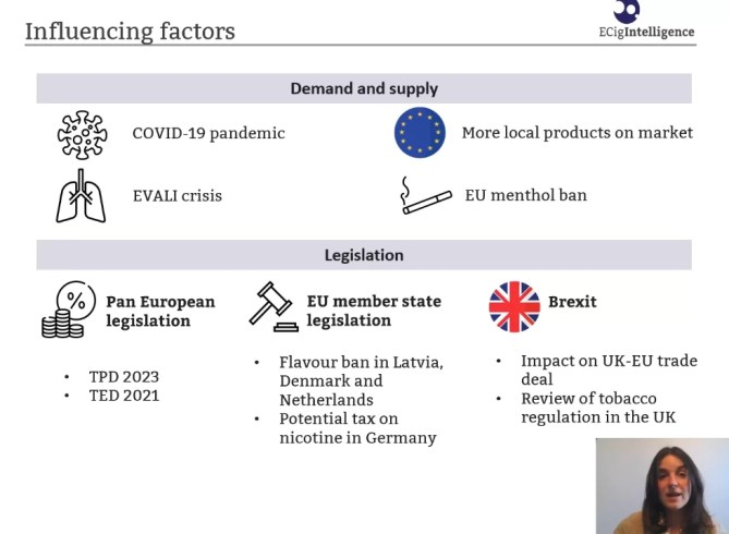 A slide from a presentation at vape live europe on influencing factors in the vaping market. It includes demand and supply, legislation along with cartoons of each and a small image of the speaker.