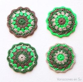 posavasos-ganchillo-marrón-verde