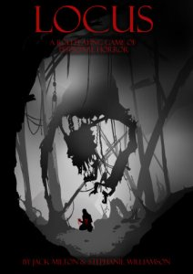 Cover Art for Locus. Greyscale picture shows a figure alone in a mangled wood
