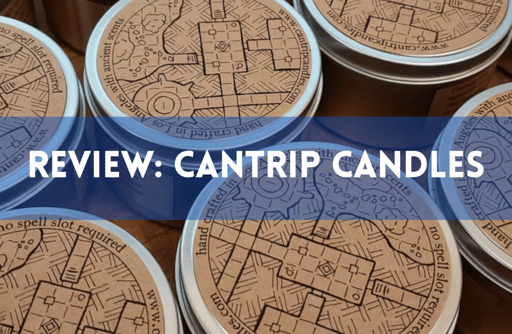 Text reads Review: Cantrip Candles. Background is tops of candle tins. Photo Credit: Cantrip Candles