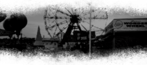 Foggy abandoned amusement park scene