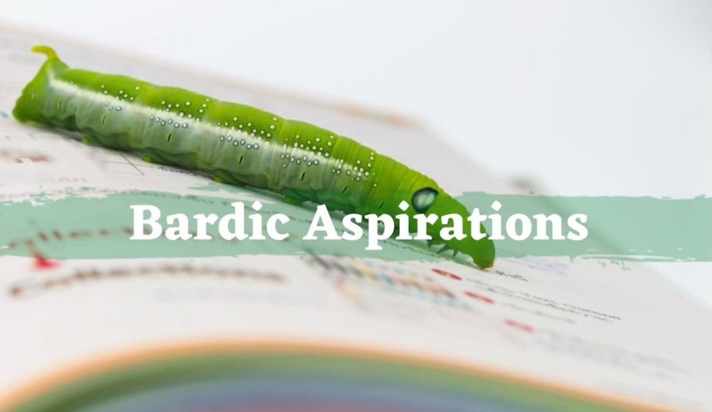 Text reads Bardic Aspirations over a caterpillar on a book