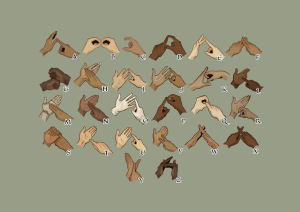Many hands showing the BSL alphabet
