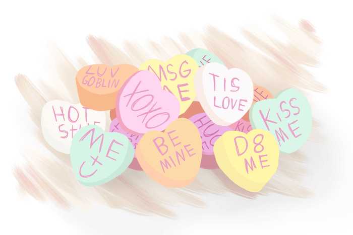 Pile of cartoon candy hearts