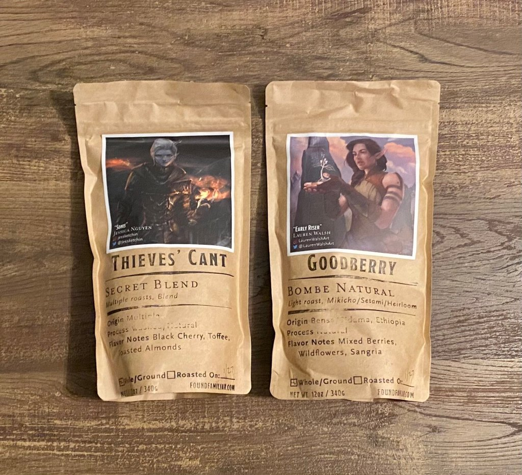 2 bags of coffee: Thieve's Cant and Goodberry