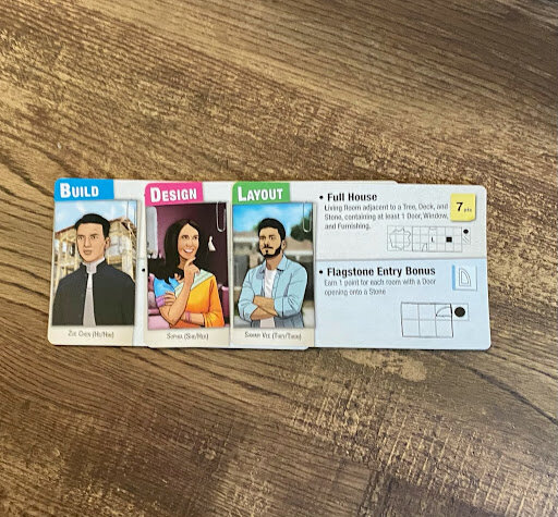 Floor plan cards showing images of diverse people on cards that are titles Build, Design and Layout