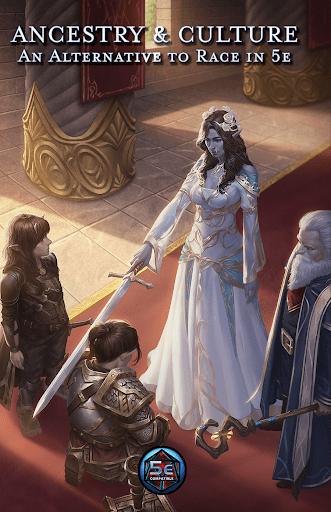 Cover of Ancestry and Culture: An Alternative to Race in 5e. Humanoid woman taps sword to shoulder or kneeling humanoid man