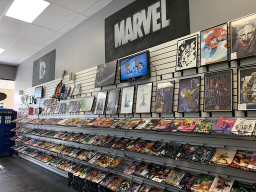 Large wall full of comic books