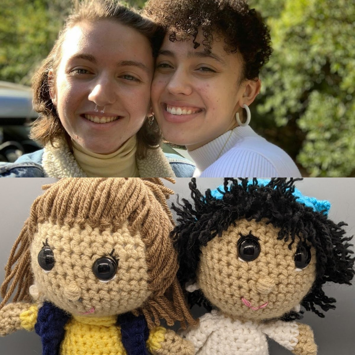 A real life human couple on top and a crocheted version of the couple on the bottom