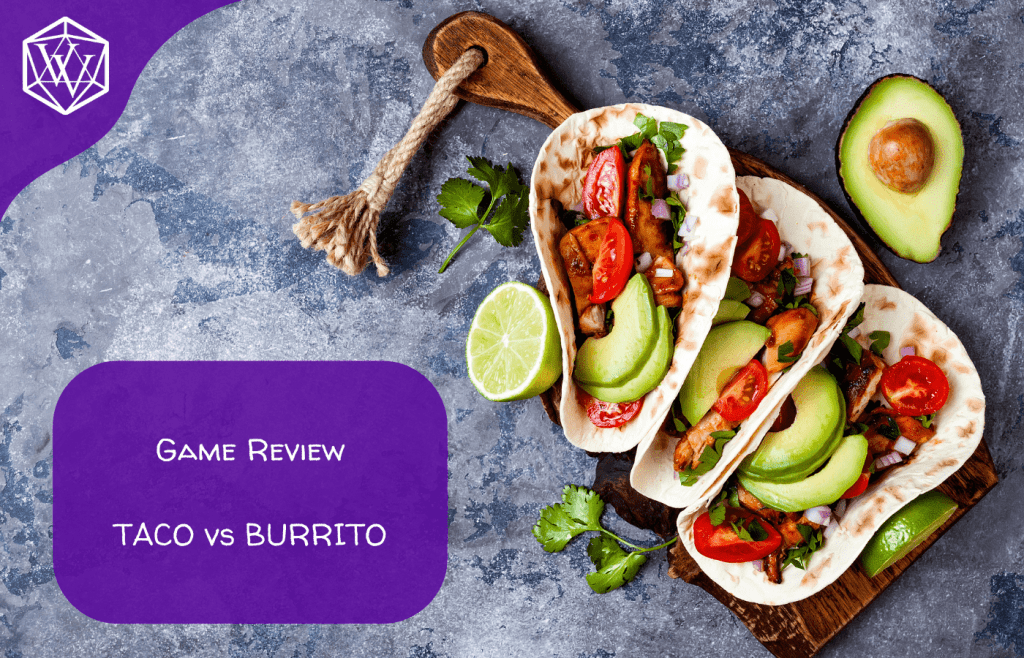 Text reads: Game Review: Taco Versus Burrito over tacos in the background