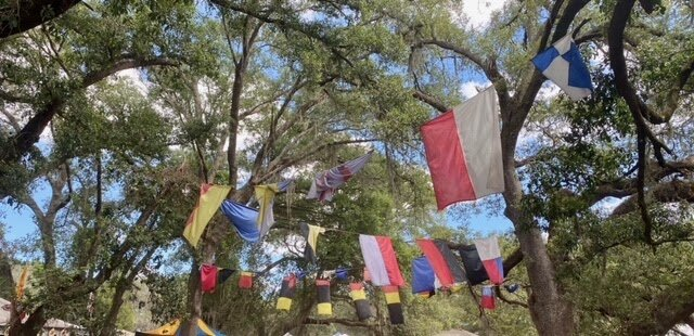 Multicolored flags and banners hang under a canopy of trees