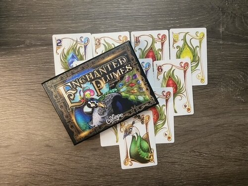 Enchanted Plumes Box sitting on top of cards featuring peacock feathers