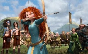 Red-haired light skinned girl holding a bow and arrow