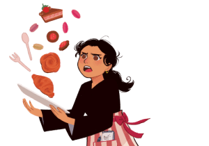 Woman spilling pastries off of a platter
