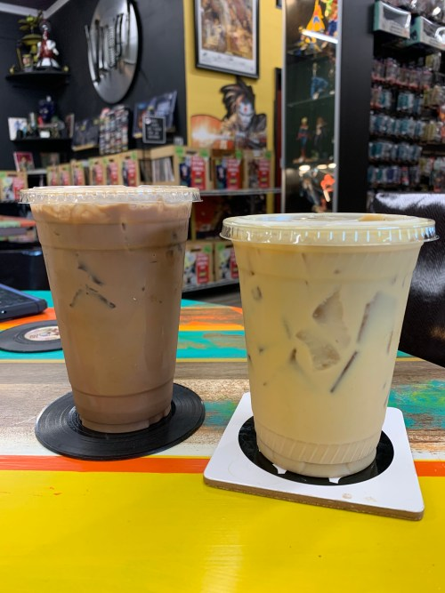 Two delicious, iced drinks served in the BAMF Coffeehouse!