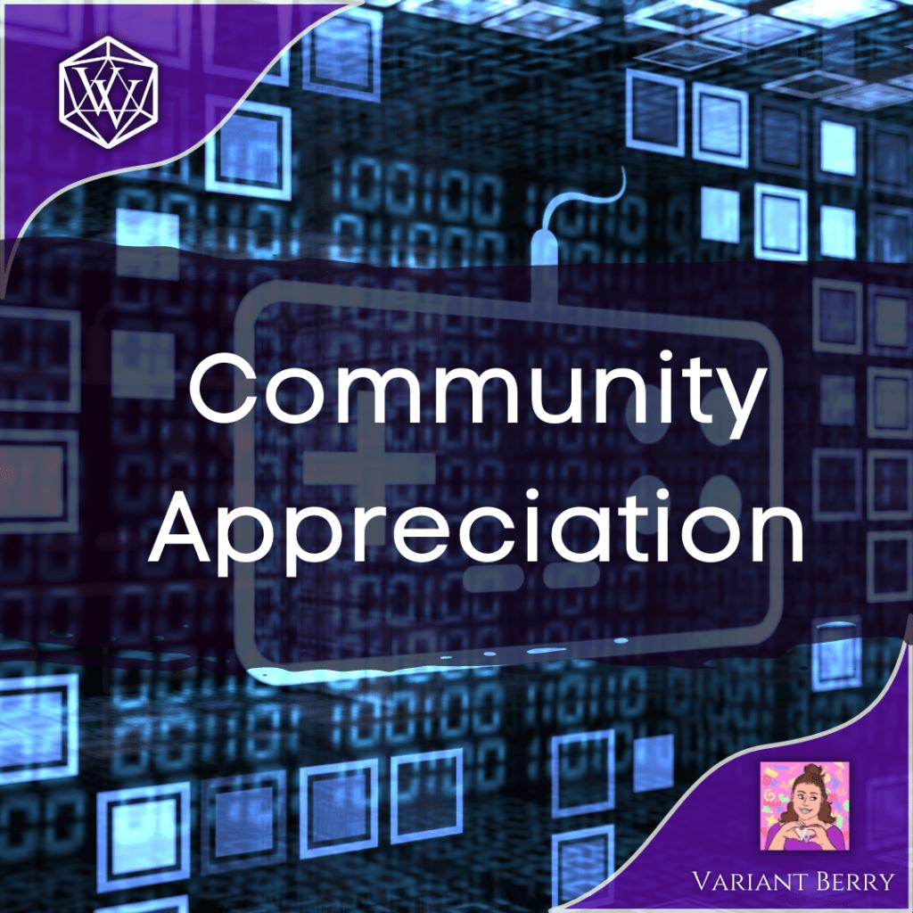 Text reads Community Appreciation