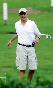 Obama being fully engaged on the golf course