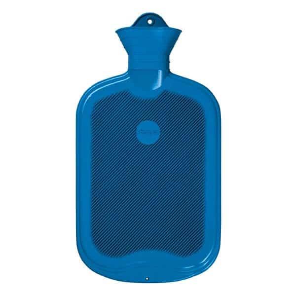 Sänger gummivärmeflaska med ribbor ensidig blå