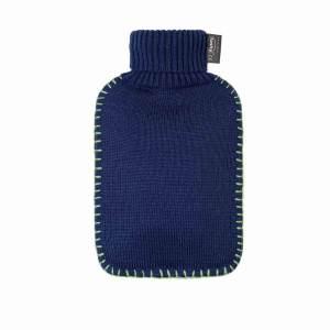 Fashy värmeflaska Polo blå - 2 liter med stickat fodral