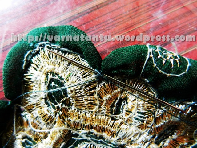 Ruffled Motif Patch Work By Gathering - Shaping - Secured The Pulled Basted Yarn